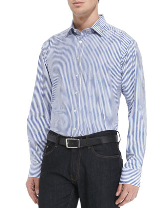 Argyle-on-Stripe Dress Shirt