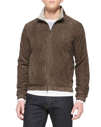 Fine-Stripe Cashmere Crewneck Sweater & Suede Bomber Jacket