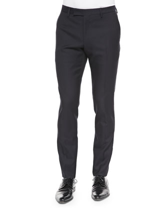 Wool/Mohair Flat-Front Trousers, Night Blue