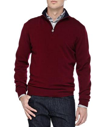 Wool Quarter-Zip Sweater, Burgundy