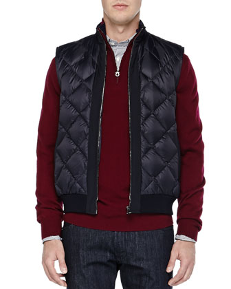 Nylon Diamond-Quilt Vest, Wool Quarter-Zip Sweater, Bengal-Stripe ...