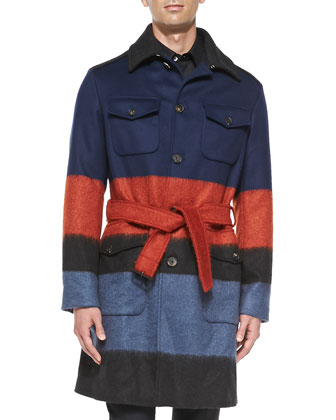 Striped Brushed Wool-Blend Coat, Multi