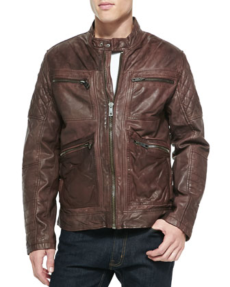 Leather Zip-Front Moto Jacket, Brown