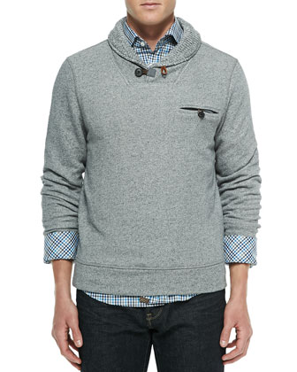 Shawl-Collar Knit Sweater, Charcoal