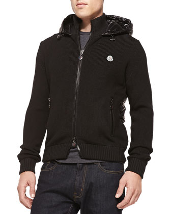 Wool-Knit Jacket with Quilted Nylon Back