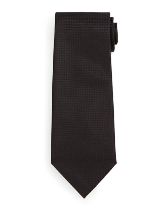 Micro-Check Silk Tie, Black