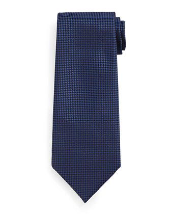 Micro-Check Silk Tie, Navy