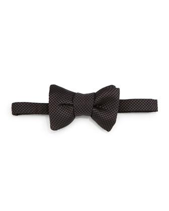 Micro-Check Bow Tie, Gray/Black