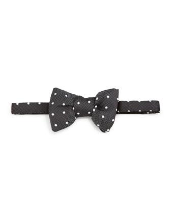 Polka-Dot Jacquard Bow Tie, Black/White