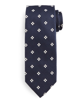 Floral-Grid Tie, Blue/White