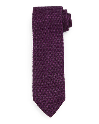 Diamond-Pattern Knit Tie, Purple