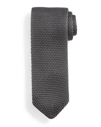 Thin-Striped Knit Tie, Gray/Black