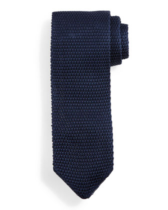 Thin-Striped Knit Tie, Blue/Black