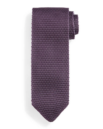 Thin-Striped Knit Tie, Purple