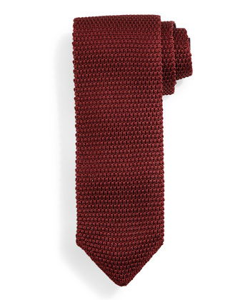 Thin-Striped Knit Tie, Red