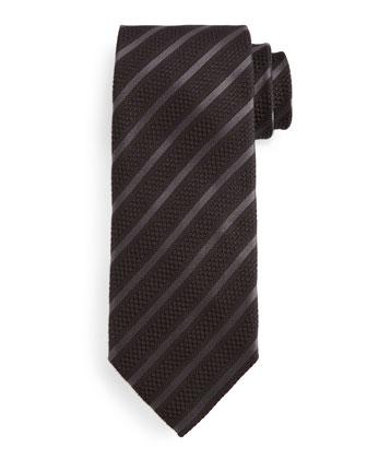 Diagonal-Striped Tie, Brown