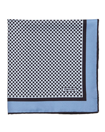 Polka-Dot Silk Pocket Square, Light Blue