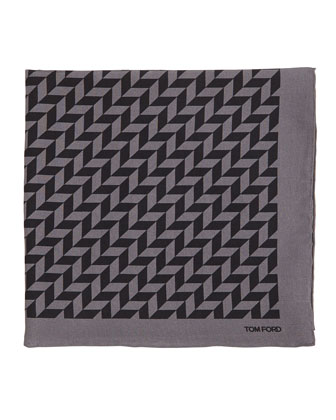 Geometric-Print Silk Pocket Square, Black/Gray
