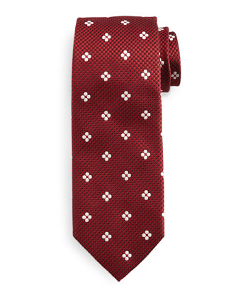 Floral-Print Tie, Red/White
