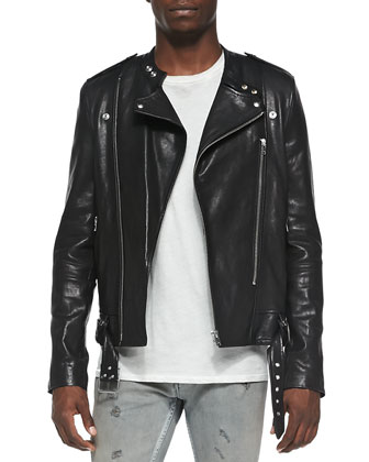 Hydo Leather Biker Jacket, Sama Slub-Jersey Tee & Nygel Slim-Fit Distressed ...