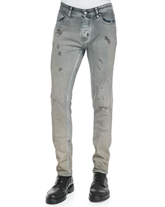 Oren Melange Sweatshirt & Nygel Slim-Fit Distressed Jeans