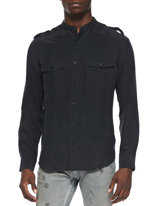 Azaf Band-Collar Military Shirt, Black