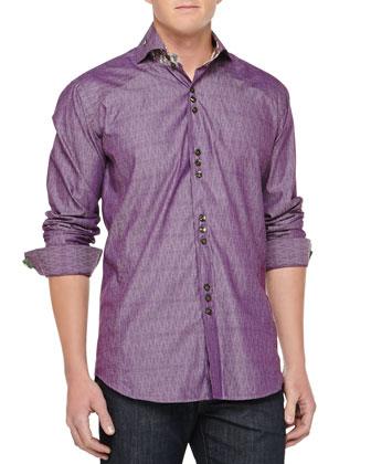 D-Matis 89 Jacquard Sport Shirt, Purple