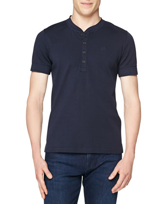 Elleswood Short-Sleeve Henley Tee, Navy