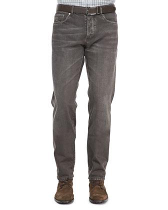 5-Pocket Denim Jeans, Tobacco