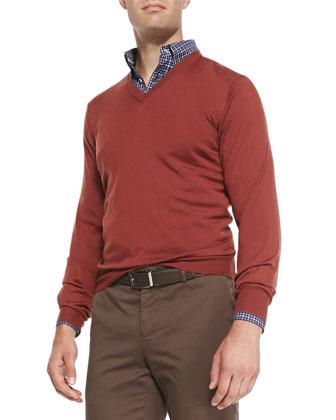 Fine-Gauge Tipped Cashmere V-Neck Sweater, Orange