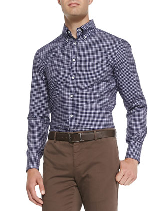 Check Button-Collar Shirt, Blue