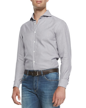 Small-Circle-Print Button-Down Shirt, White
