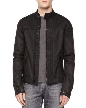 Coated Zip-Front Jacket, Black