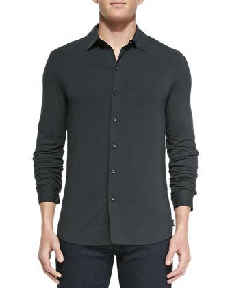 Diamond-Jacquard Four-Button Blazer, Stretch-Jersey Button-Down Shirt & ...