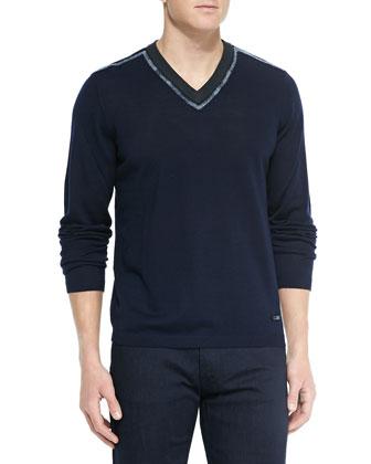 Streaked V-Neck Sweater, Navy