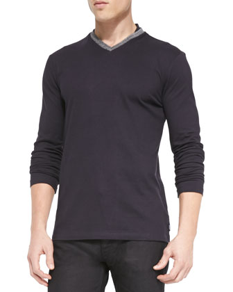 Pique Long-Sleeve Tee & Slim Stretch-Denim Jeans