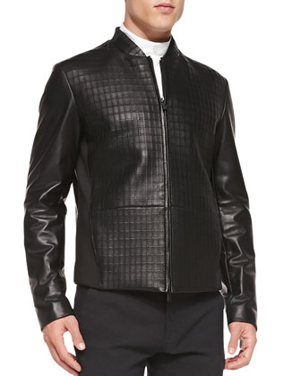 Textured Leather Jacket, Banded Collar Woven Shirt & Houndstooth Trousers