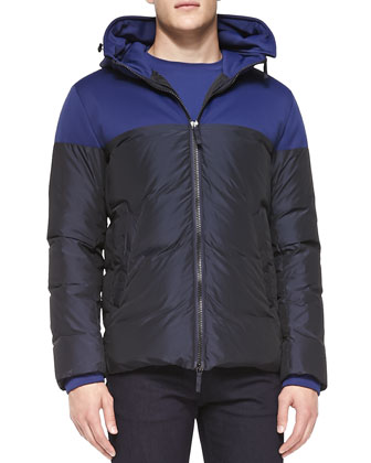 Colorblocked Hooded Puffer Jacket, Blue/Black