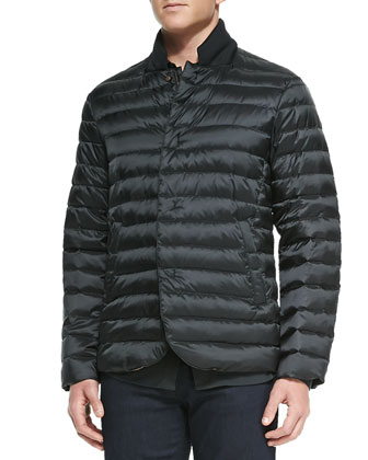 Quilted Puffer Jacket, Stretch-Jersey Button-Down Shirt & Slim ...