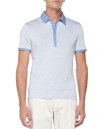 Heather-Knit Polo, Blue