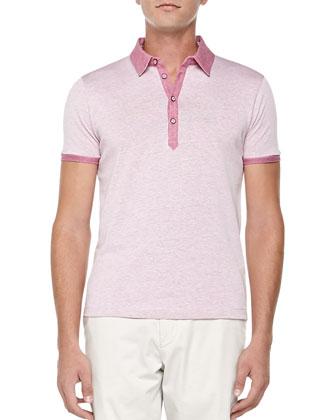 Heather-Knit Polo, Medium Pink