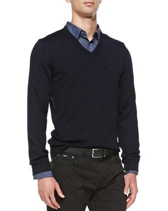 Wool V-Neck Sweater, Navy