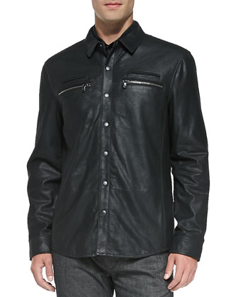 Cracked Leather Shirt Jacket, Charcoal