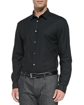 Slim Fit Stretch-Poplin Button-Down Shirt, Black