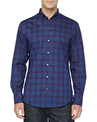 Checkered Print Shirt, Pierson Blue/Wine