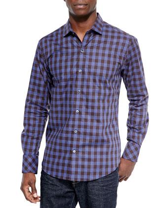 Check Woven Sport Shirt, Blue/Brown