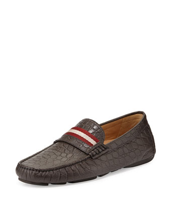 Wabler Croc-Embossed Leather Driver, Brown