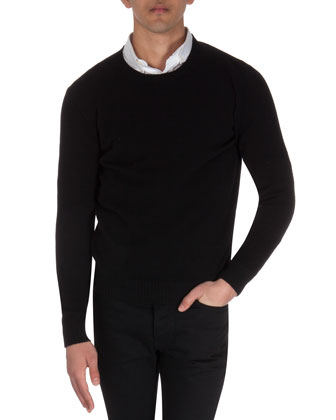 Wool Crewneck Sweater, Black