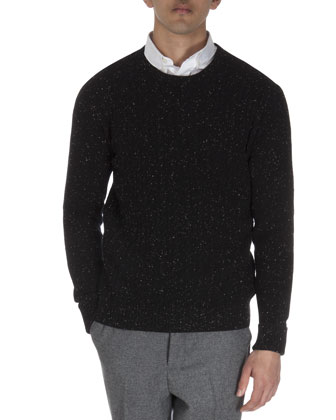 Cable-Body Donegal Crew Sweater
