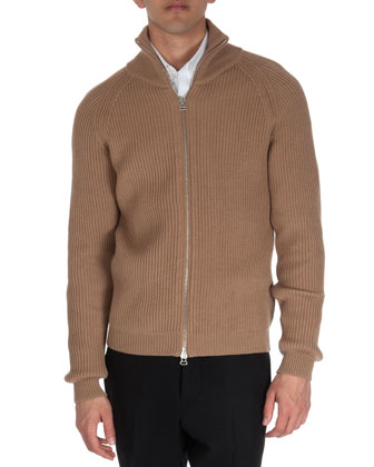 Full-Zip Knit Sweater, Camel